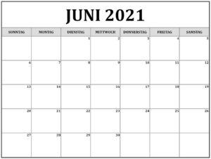 Juni Kalender 2021