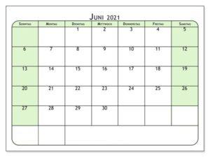 Kalender Juni 2021 Vorlage