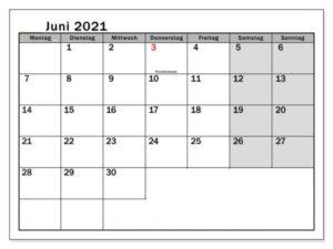 Kalender 2021 Juni Zum Ausdrucken