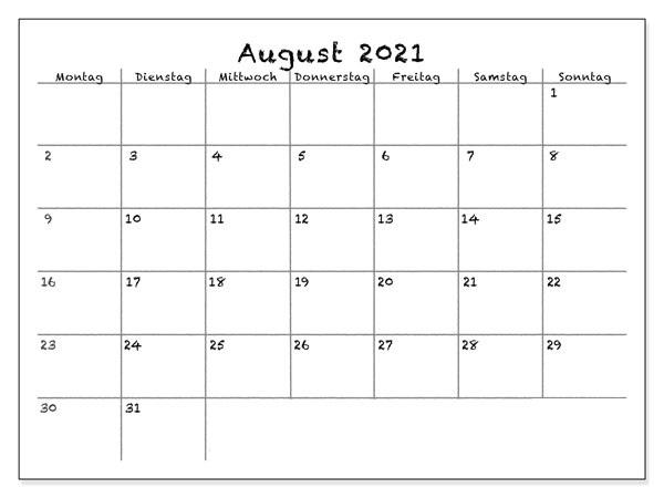 Kalender August 2021 Vorlage