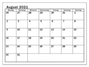 August 2021 Feiertags Kalender