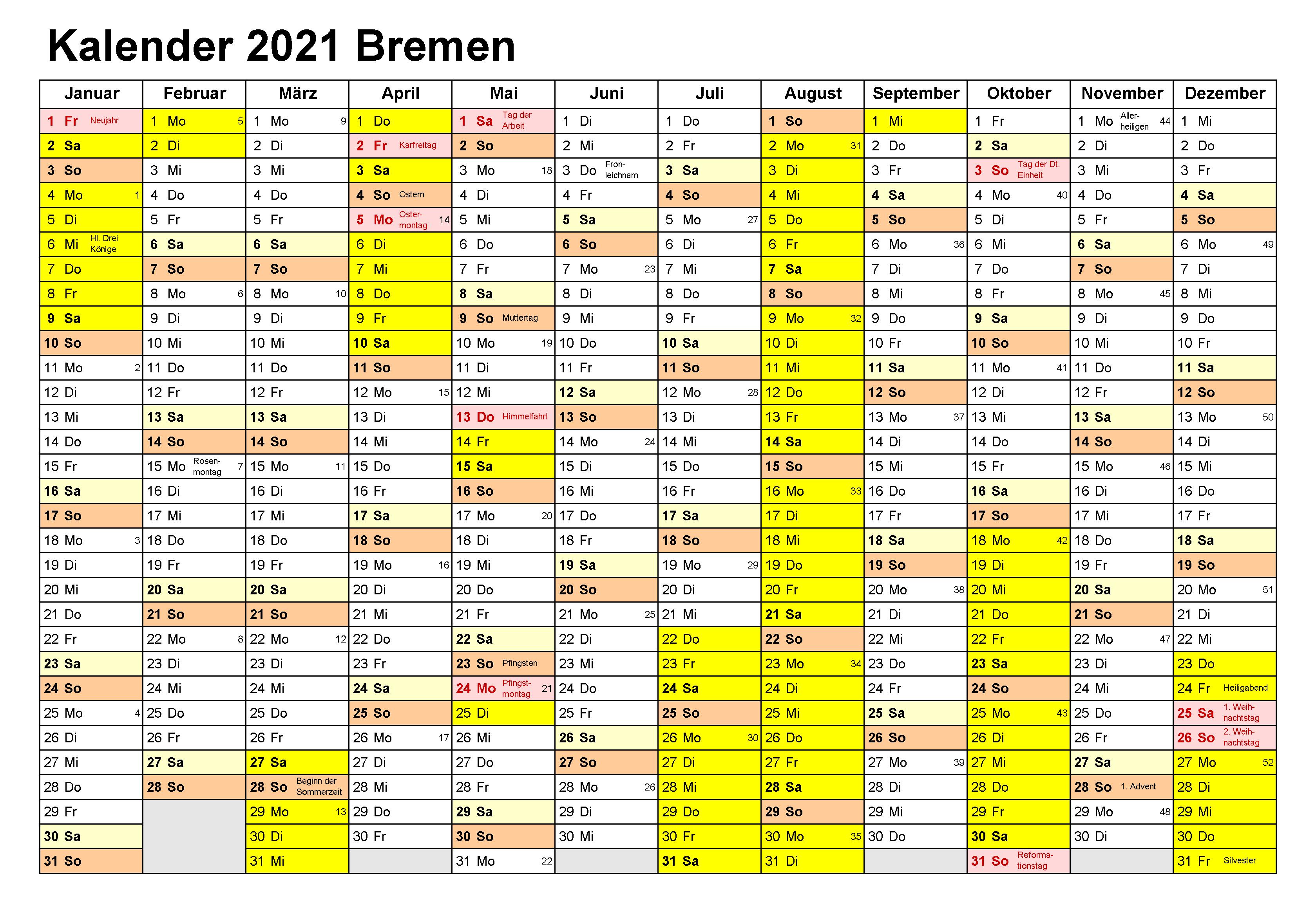 Kalender Bremen 2021 Zum Ausdrucken