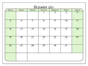 Kalender Dezember 2021 Vorlage