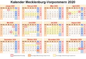 Kalender Mecklenburg-Vorpommern 2020 Zum Ausdrucken