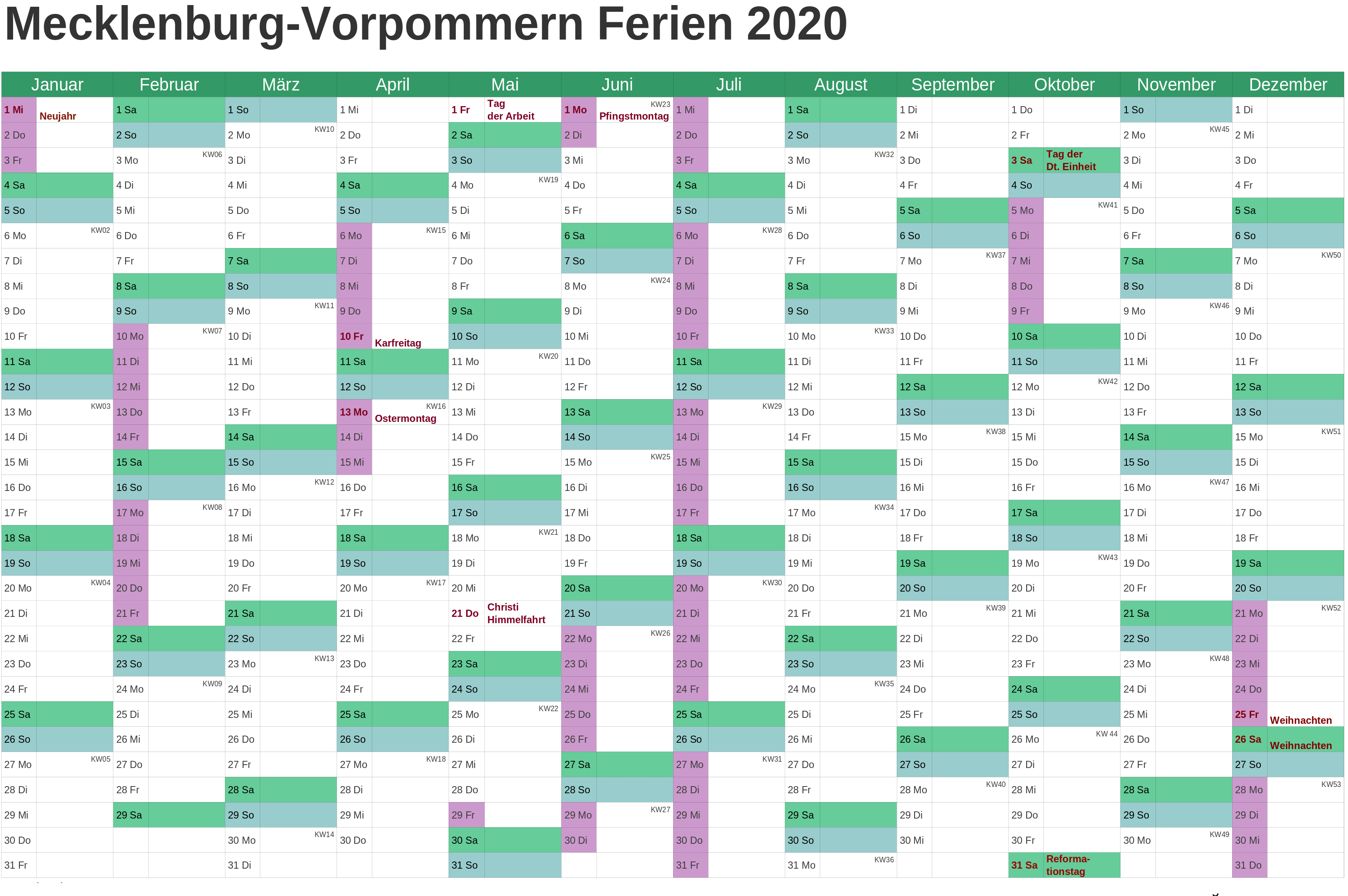 Sommerferien 2020 Mecklenburg-Vorpommern Kalender PDF