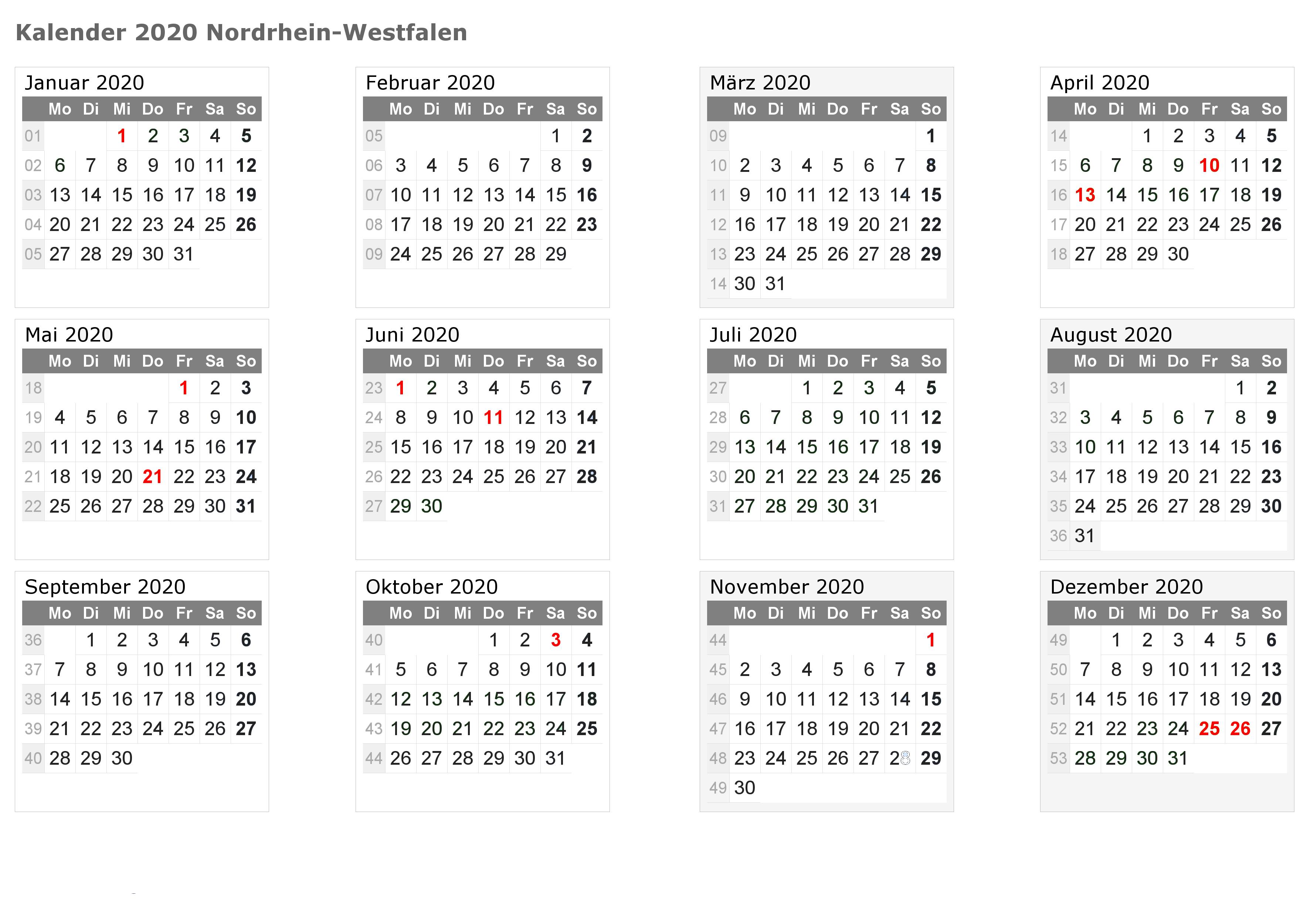 Feiertagen 2020 NRW Kalender