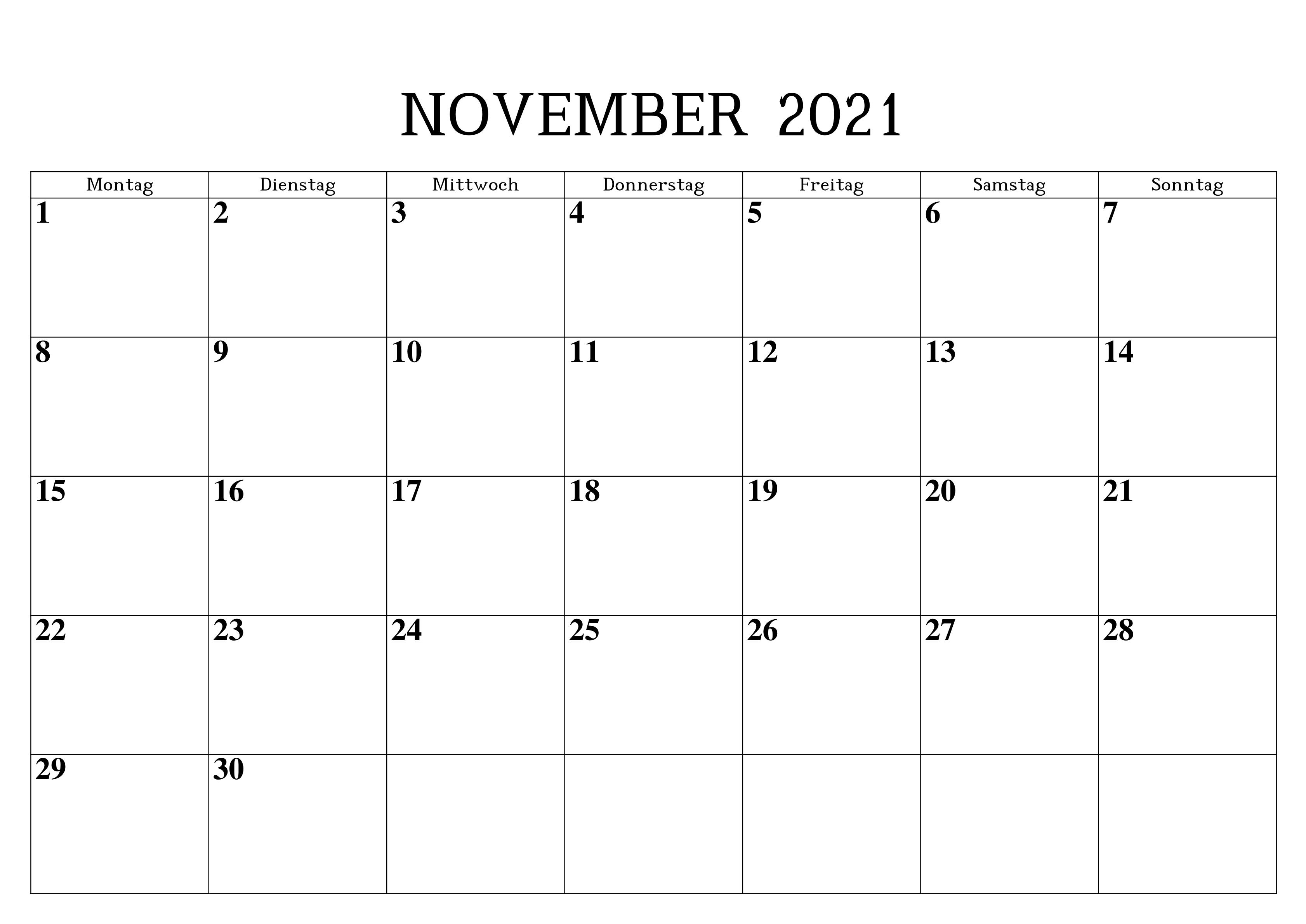 Kalender November 2021 Ausdrucken