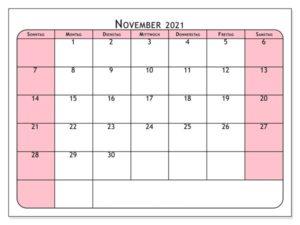 Kalender November 2021 Vorlage
