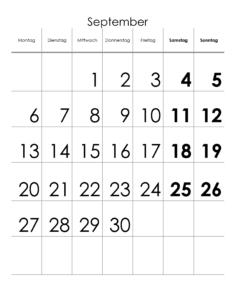 September 2021 Feiertags Kalender