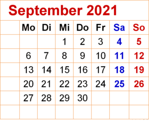 Kalender September 2021 Ausdrucken