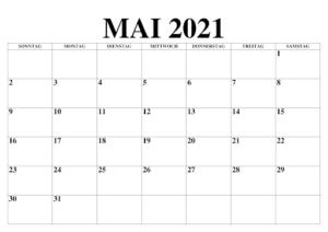 Mai 2021 Kalender