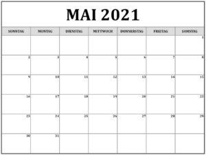Mai 2021 Feiertags Kalender