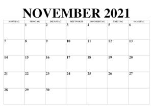 Kalender 2021 November Zum Ausdrucken