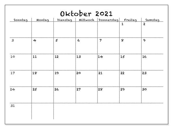 Oktober 2021 Feiertags Kalender