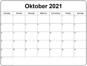 Oktober Kalender 2021