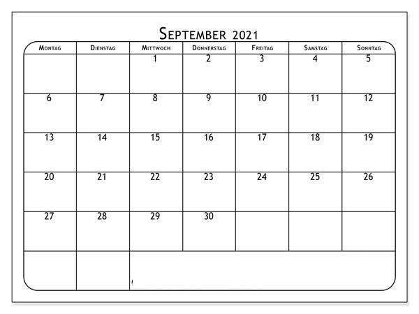 September Kalender 2021