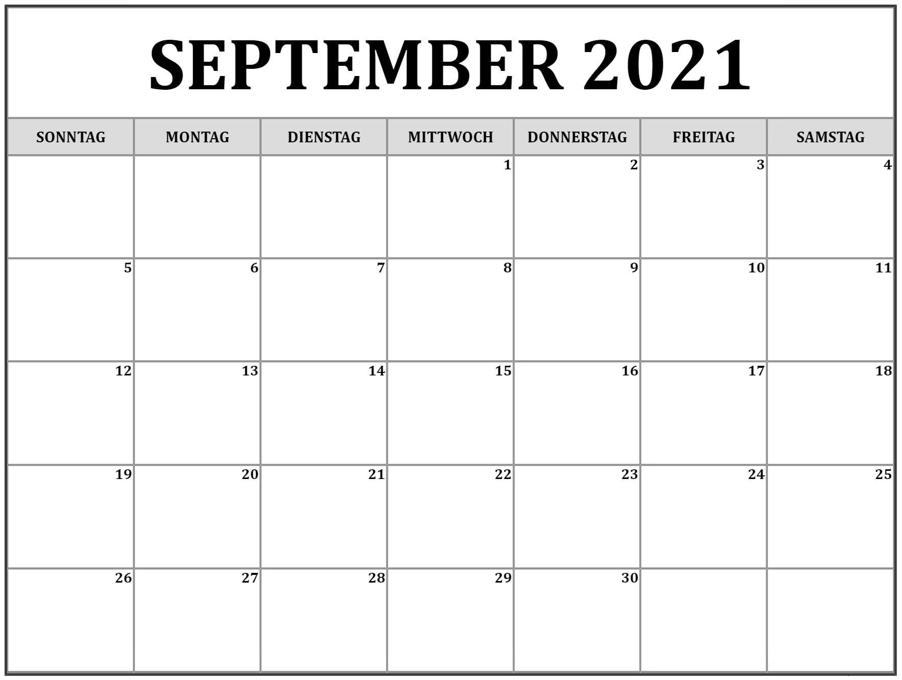 Kalender September 2021 Drucken