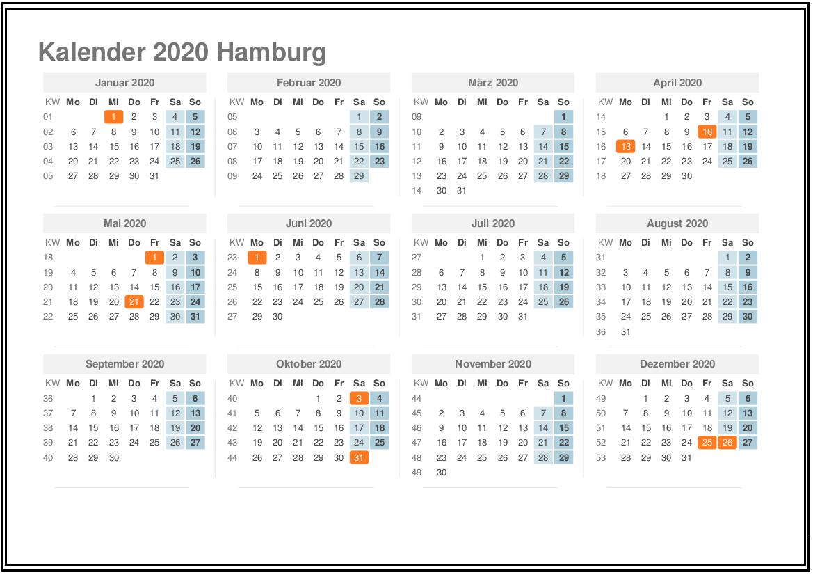Sommerferien Hamburg 2020 Kalender Excel Word