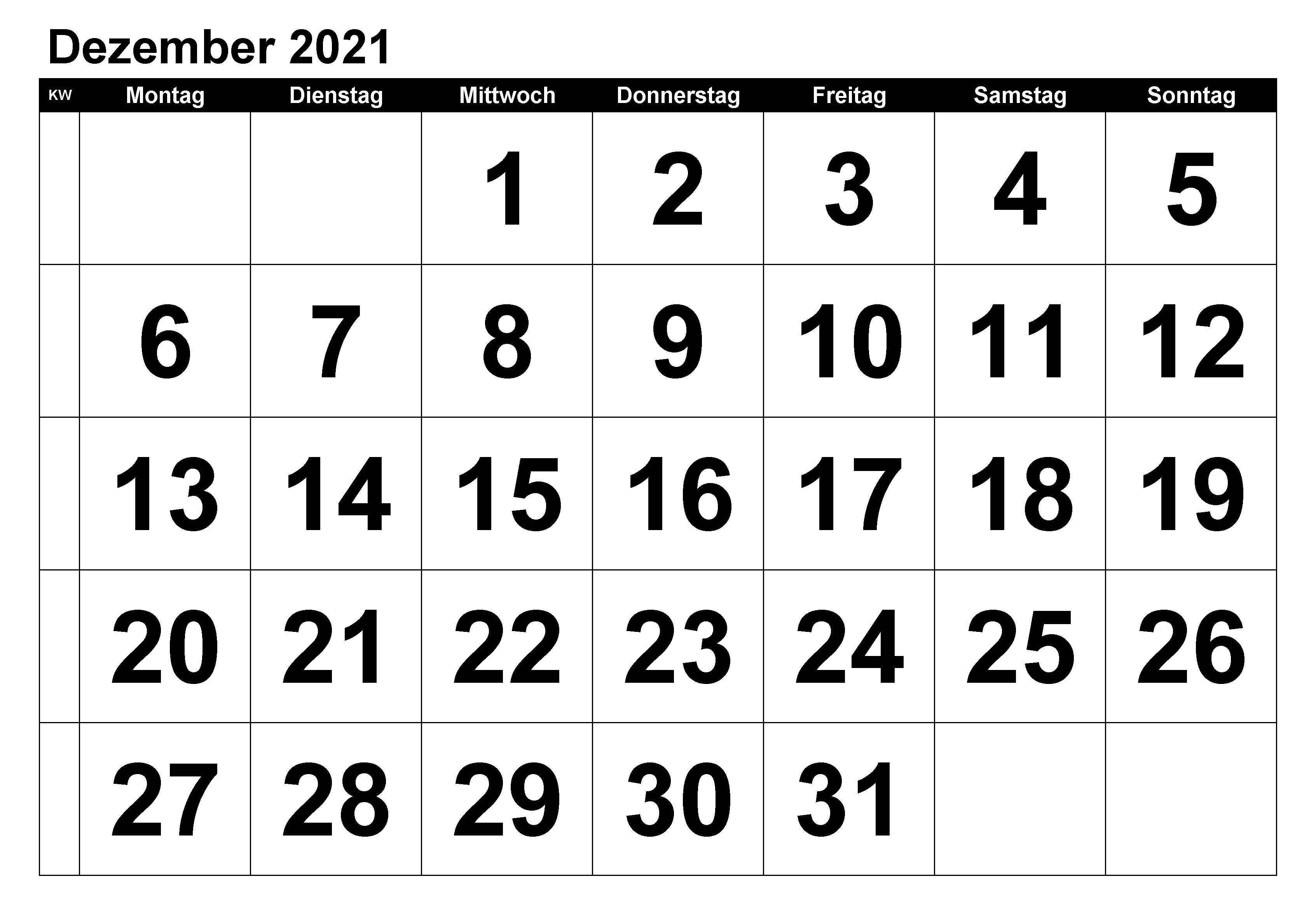 Kalender Dezember 2021 Ausdrucken