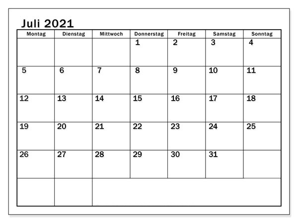 Juli 2021 Feiertags Kalender