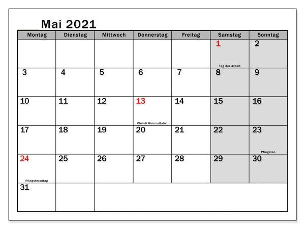 Kalender Mai 2021 Ausdrucken