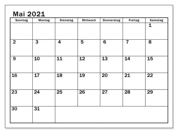 Kalender Mai 2021 Drucken