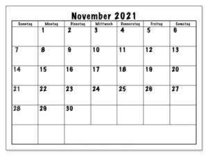 Kalender November 2021 Drucken