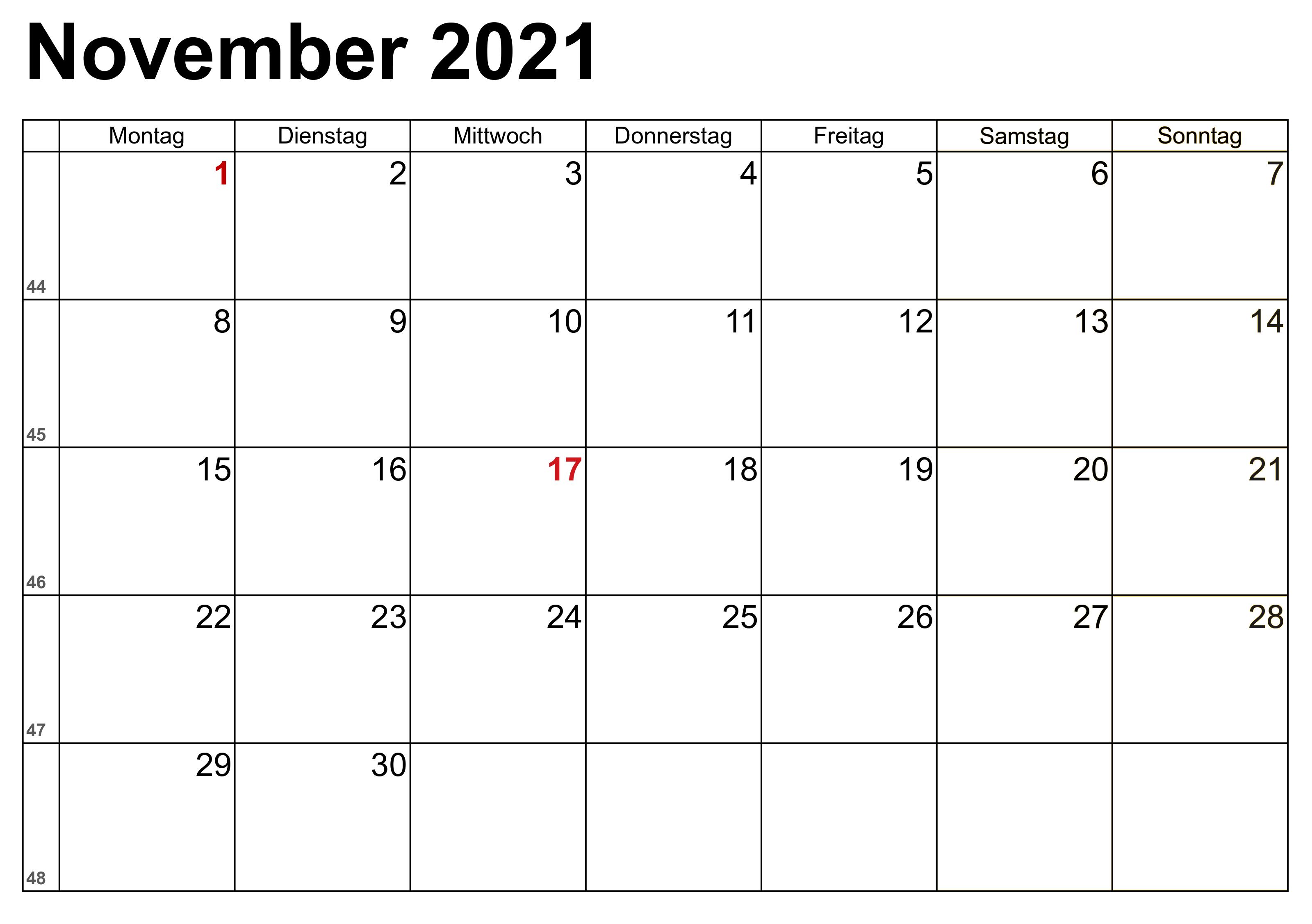 November 2021 Feiertags Kalender