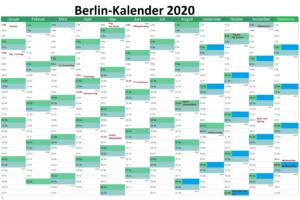 Sommerferien Berlin 2020 Kalender Excel Word