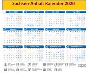 Sommerferien 2020 Sachsen Kalender PDF