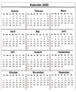 Sommerferien Saarland 2020 Kalender Excel, Word