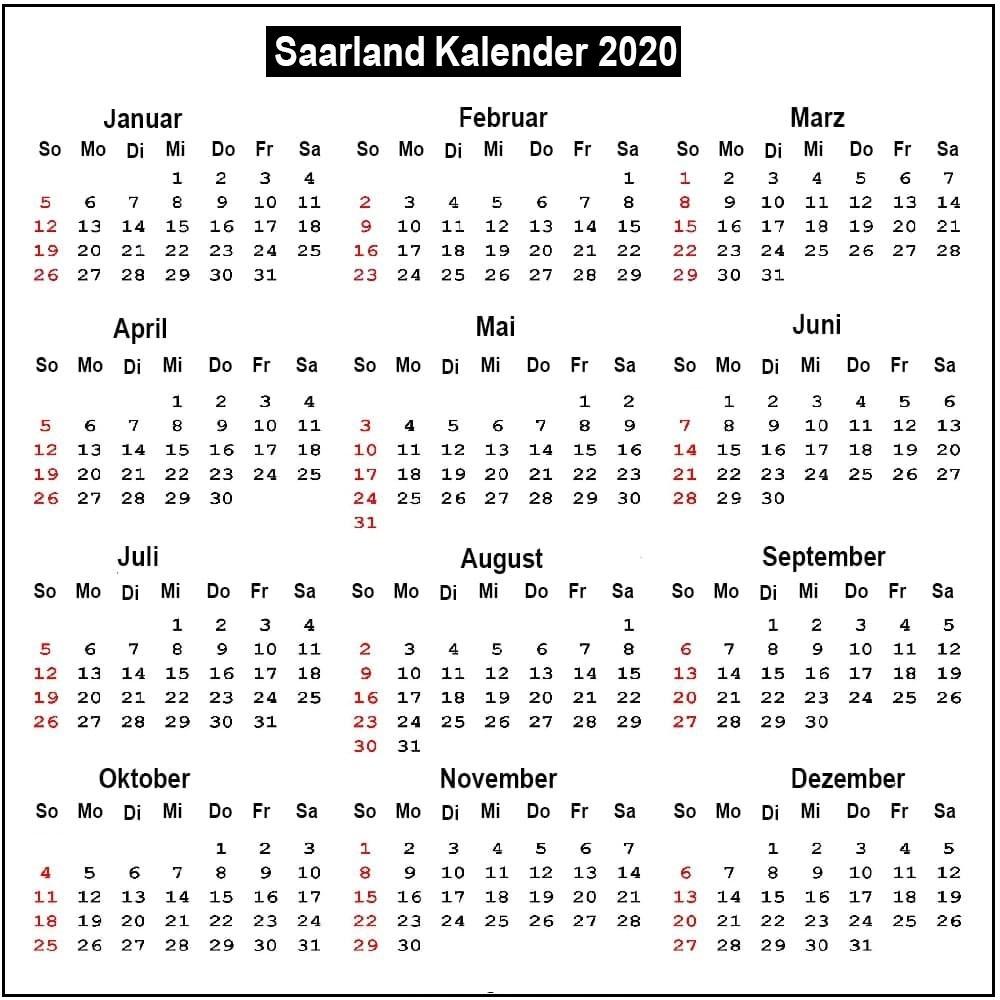 Kalender Saarland 2020 Zum Ausdrucken