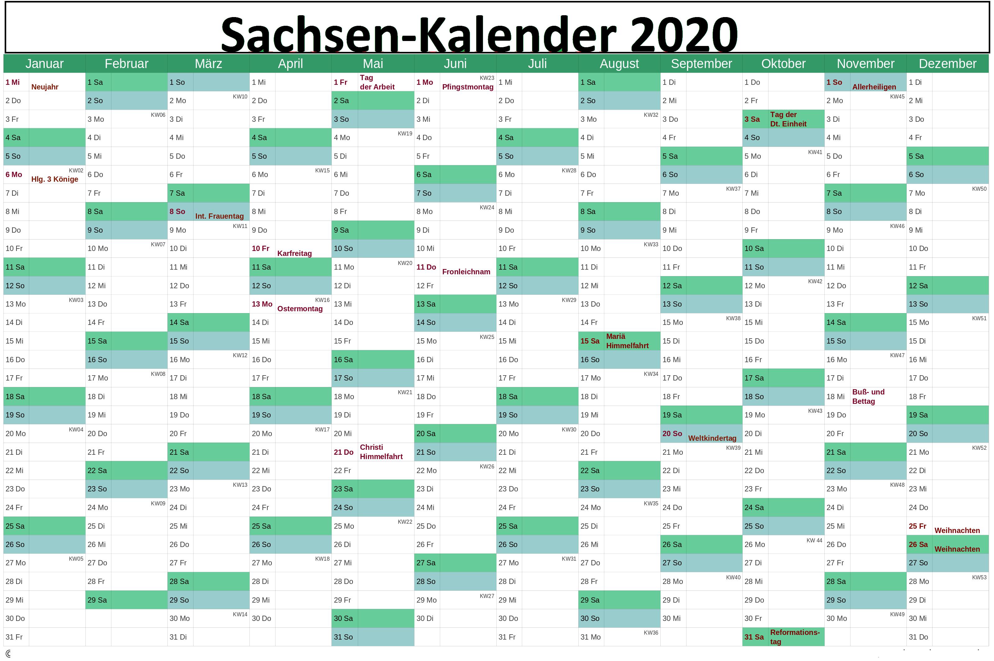 Kalender Sachsen 2020 Zum Ausdrucken