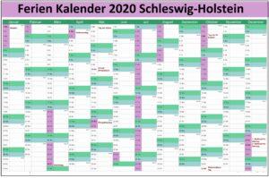 Sommerferien 2020 Schleswig-Holstein Kalender PDF