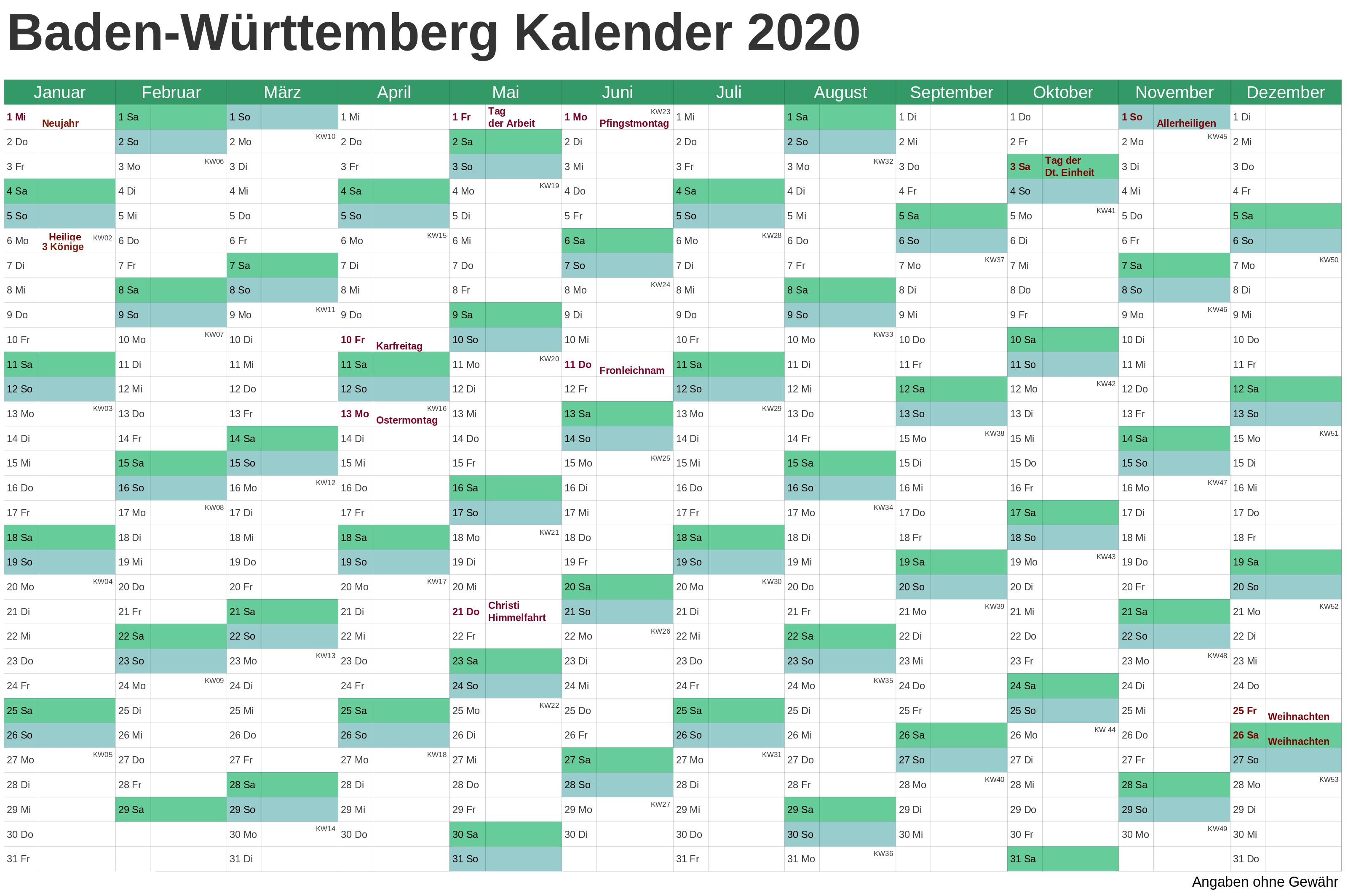 Sommerferien Baden-Württemberg 2020 Kalender Excel, Word