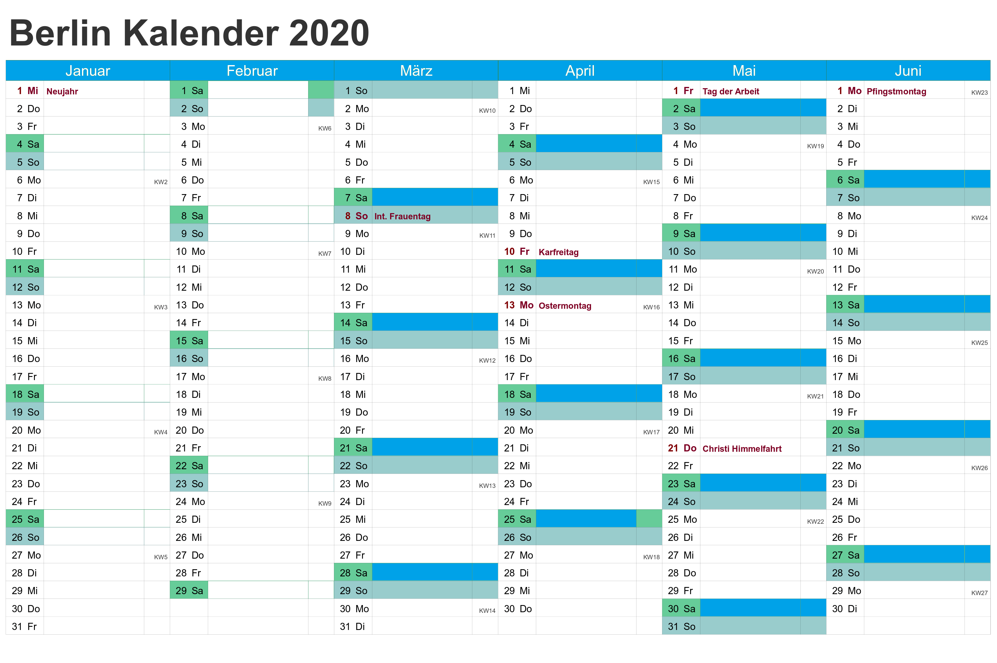 Kalender Berlin 2020 Zum Ausdrucken