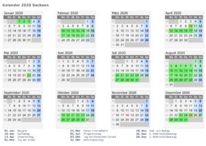 Sommerferien Sachsen 2020 Kalender Excel, Word