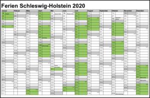 Sommerferien Schleswig-Holstein 2020 Kalender Excel Word