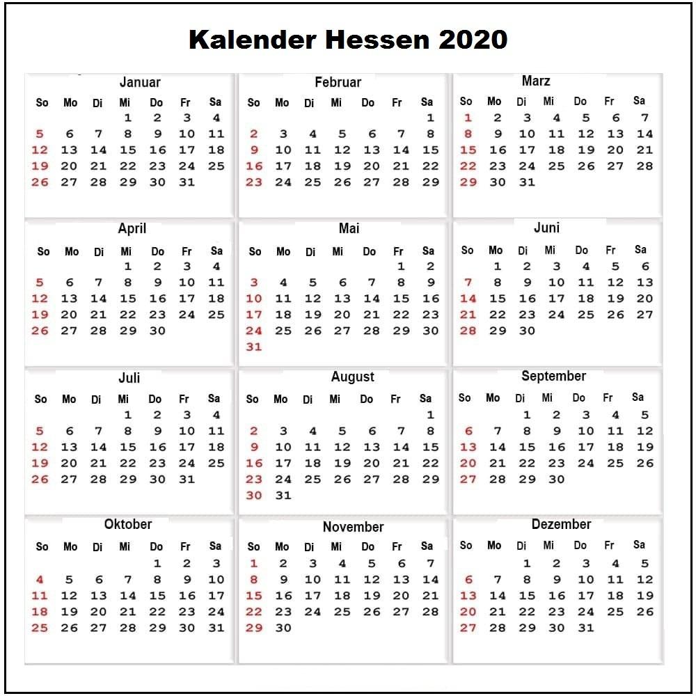 Sommerferien 2020 Hessen Kalender PDF