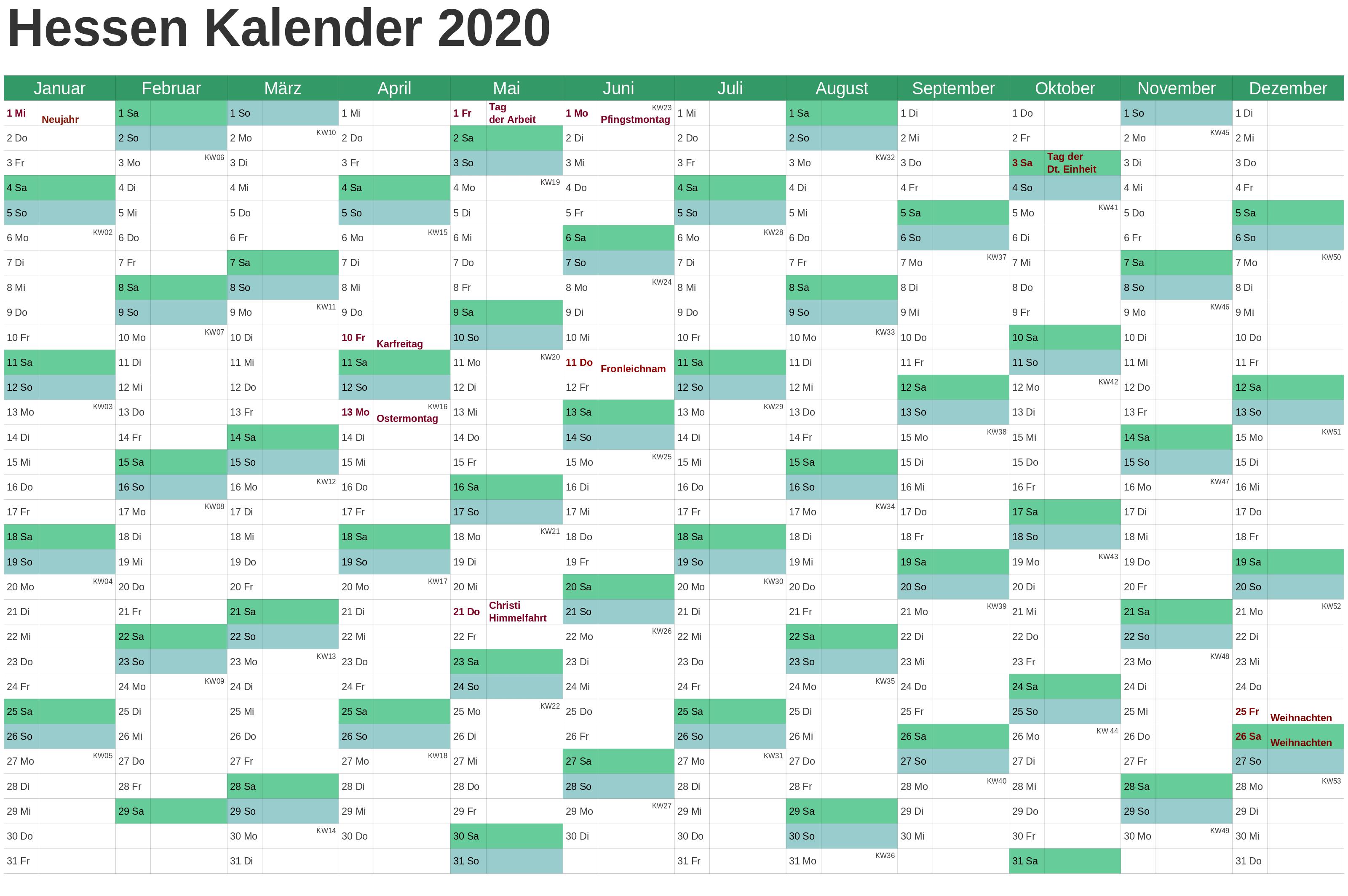 Sommerferien Hessen 2020 Excel