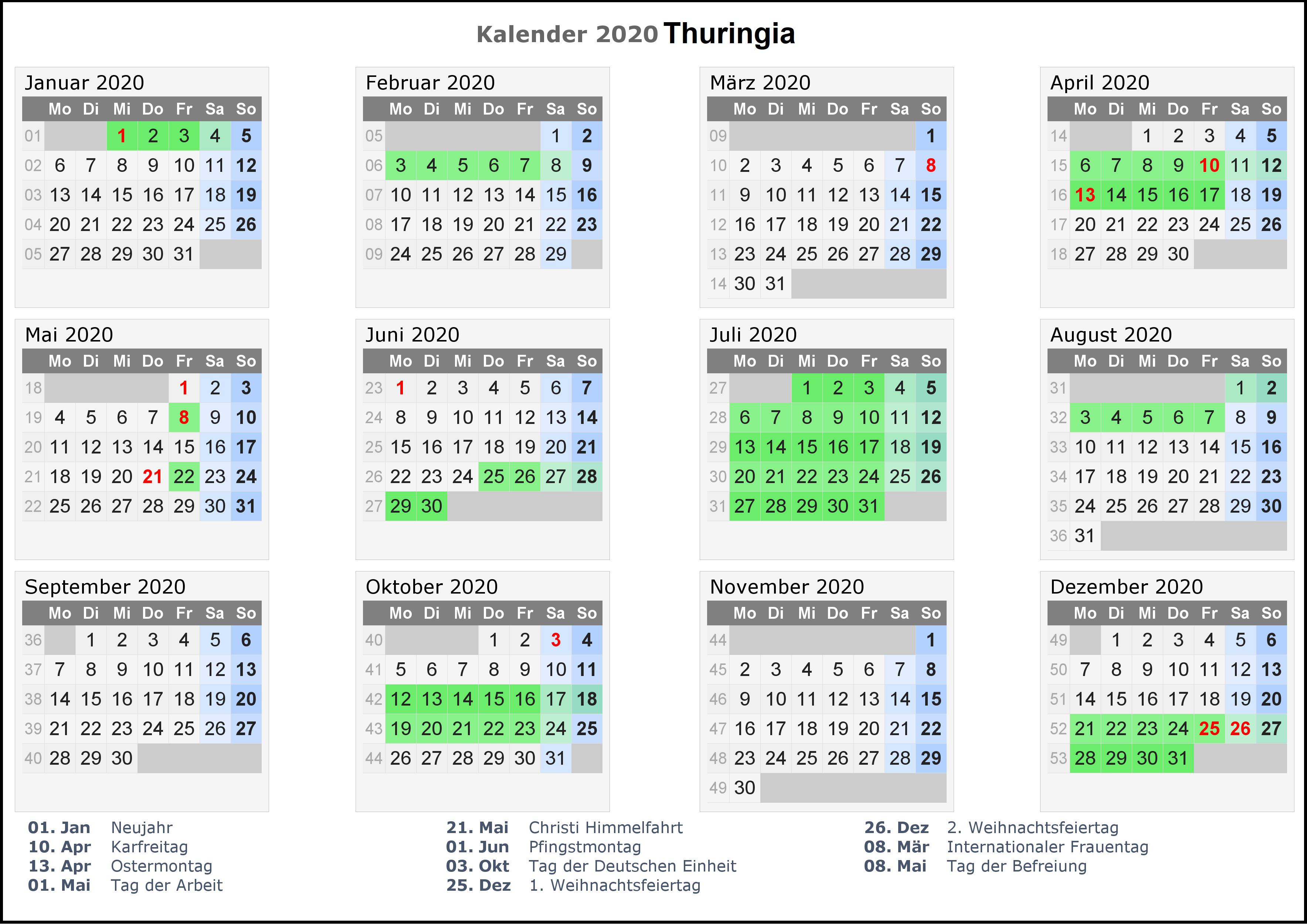 Feiertagen 2020 Thuringia Kalender