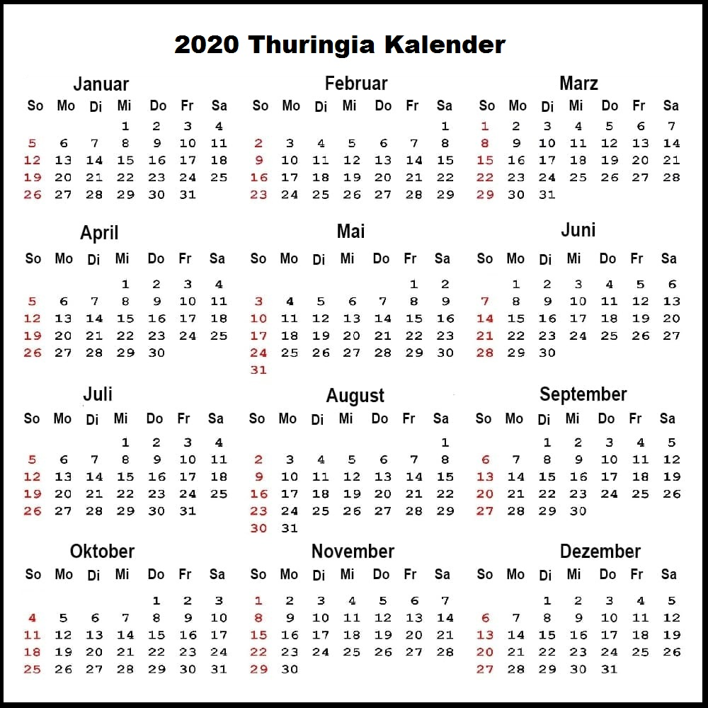 Sommerferien 2020 Thuringia Kalender PDF