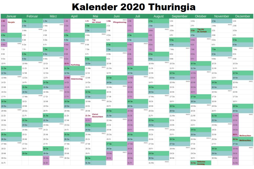 Sommerferien Thuringia 2020 Kalender Excel