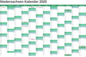 Feiertagen 2020 Niedersachsen Kalender