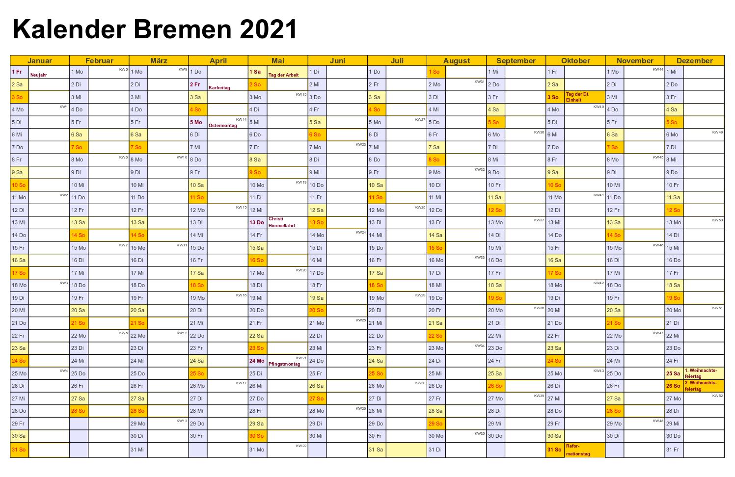 Kalender 2021 Bremen Kalender