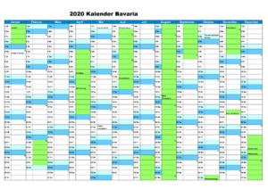 Sommerferien Bavaria 2020 Excel