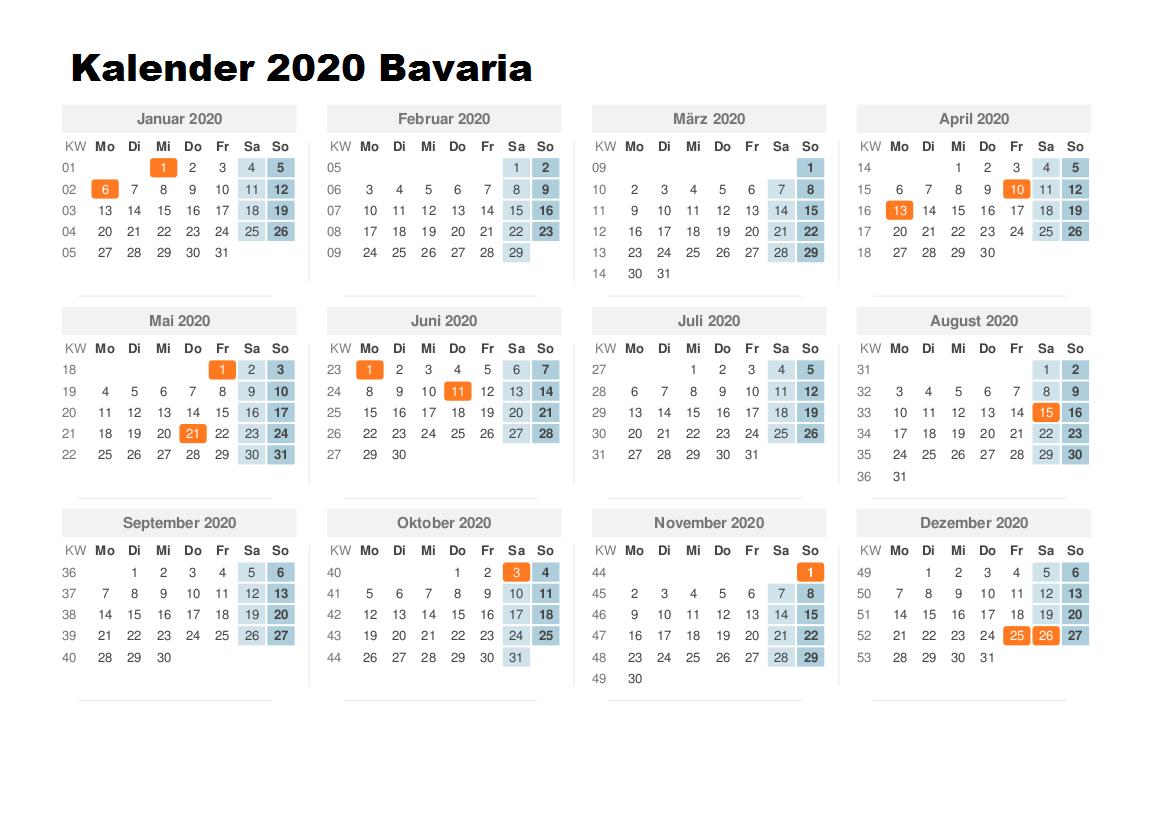 Sommerferien 2020 Bavaria Kalender PDF