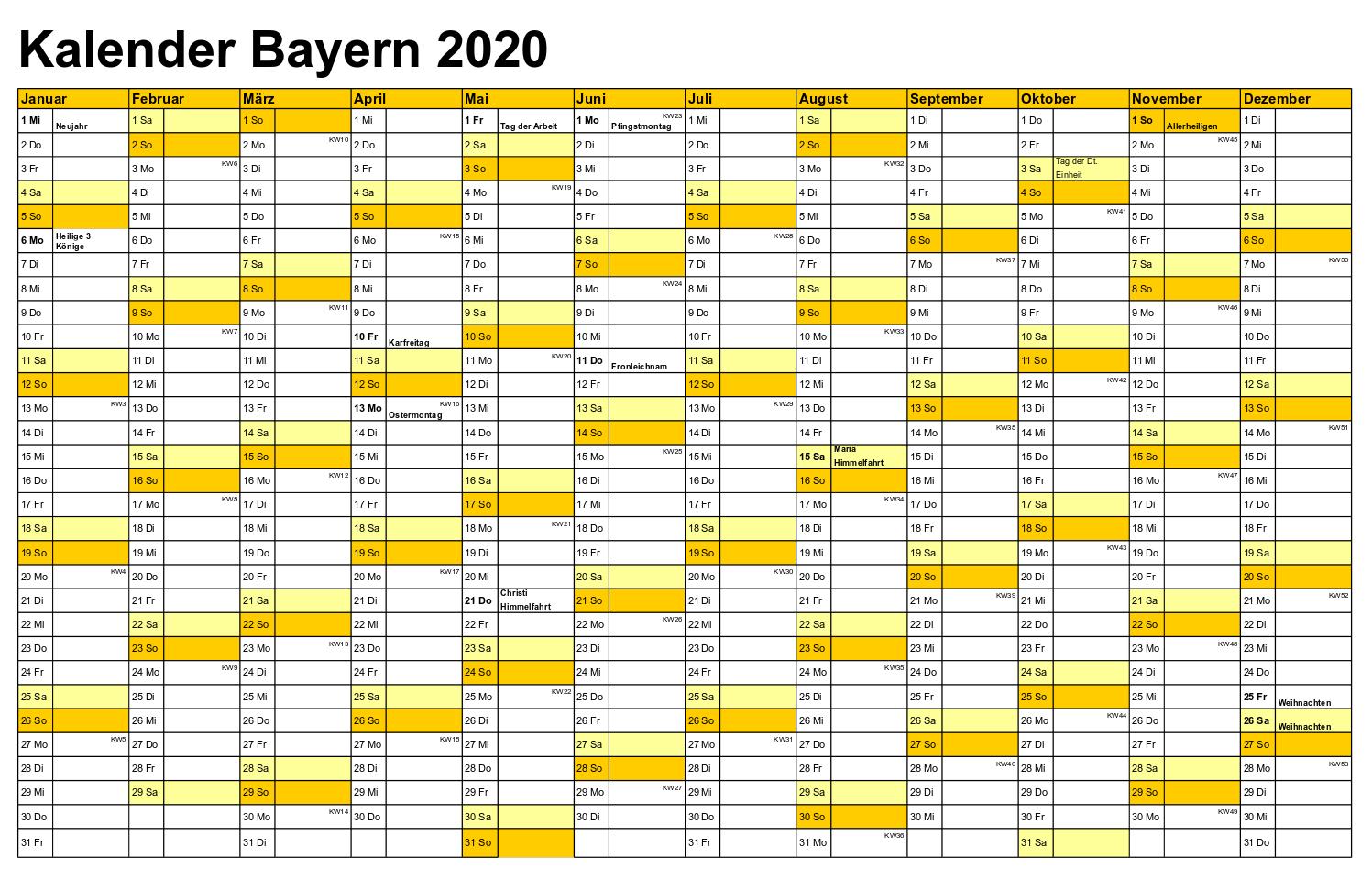Sommerferien Bayern 2020 Kalender Word
