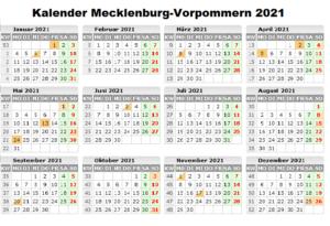 Sommerferien Mecklenburg-Vorpommern 2021 Kalender Excel Word