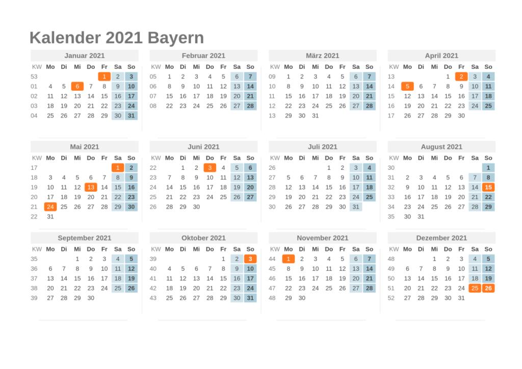 Sommerferien 2021 Bayern Kalender PDF
